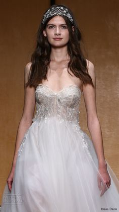 inbal dror 2017 bridal strapless sweetheart neckline bustier heavily embellished bodice tulle skirt romantic princess pretty a  line wedding dress (029) zv
