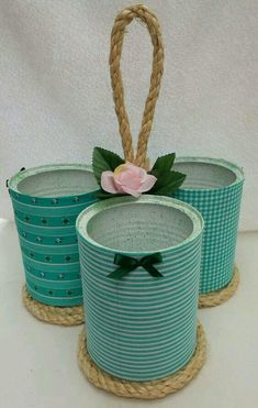 Latas de leite podem ser usadas para decorar e organizar - Tin Can Crafts, Jar Crafts, Bottle Crafts, Arts And Crafts, Recycled Tin Cans, Recycled Crafts, Rope Crafts, Diy Home Crafts, Tin Can Art