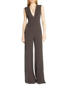 HALSTON HERITAGE Sleeveless V-Neck Wide Leg Jumpsuit | Bloomingdale's