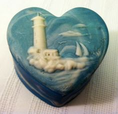 Vintage Blue Incolay like Heart Shaped by TreasuresOfPandora, $11.00