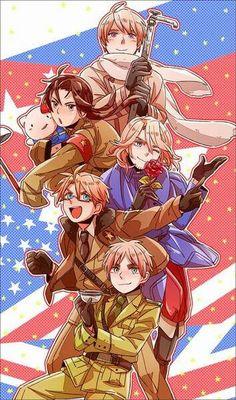 Hetalia-France,America,Russia,China,England