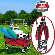 Red-Collapsible-Wagon-Folding-Utility-Cart-Beach-Shopping-Garden-Buggy-Sports