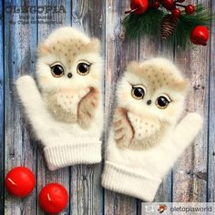 Owl mittens, must have! Knit Mittens, Mitten Gloves, Crochet Baby, Knit Crochet, Owl Clothes, Knitting Patterns, Crochet Patterns, Owl Always Love You, Owl Crafts