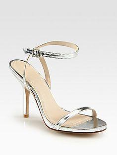 wedding shoes - Elizabeth and James Toni Metallic Leather Ankle Strap Sandals