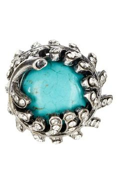 Turquoise Crystal Leaf Stretch Ring