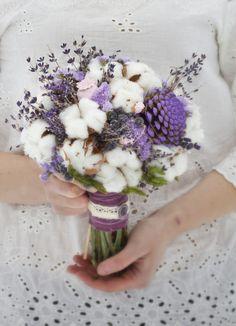 Sweet Wedding Bouquet: Lavender, Raw White Cotton, Coordinating Ingredients