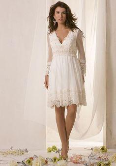 Informal Second Wedding Dresses for older brides | Casual Short Wedding Dresses with Sleeves Casual Short Wedding Dresses I LOVE this one!