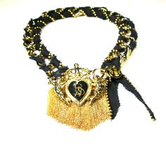 Tough Love - Removable Signed Butler & Wilson Vintage brooch, vintage gold tone tassels and chain, hand weaved vintage canvas tape/ball chain, vintage crest button One of a Kind Vintage Canvas, Vintage Lace, Vintage Brooches, Butler & Wilson, Tough Love, Ball Chain, Tassels, Tape, Jewels