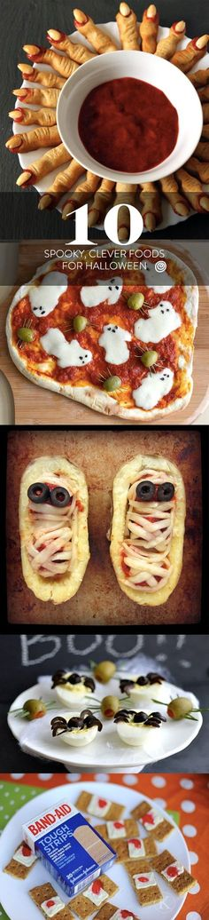 10 Creepy, Clever Halloween Food Ideas and Recipes for Your Halloween Party, From Witch Fingers to Mummy Meatballs. Appetizers, entrees for dinners, desserts, snacks, and more! Great for kids or adults.