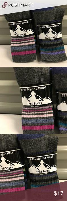 4 Pair Women Trail Socks Merino Wool  83/% Wool Size 9-11 NEW IN PACK