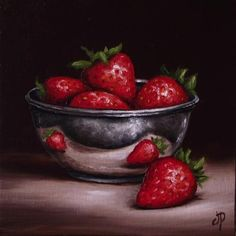 Strawberries in Silver, J Palmer Daily painting Original oil still life Art Paintings I Love, Original Paintings, Apple Art, Still Life Fruit, Fruit Painting, Fruit Art, Fruit And Veg, Kitchen Art, Food Photography