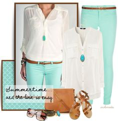 White chiffon button up shirt with mint colored pants
