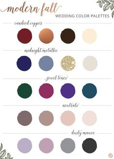 Modern fall wedding color palette. | Tips for Planning a Fall Wedding