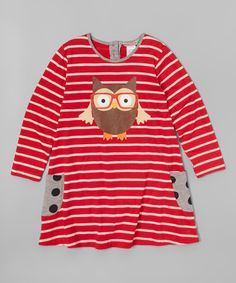 Look at this Red Stripe Owl Swing Dress - Infant, Toddler & Girls on #zulily today!