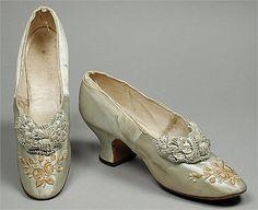 regency era footwear | early 1880s, silk satin,