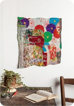 Debra Weiss draws upon her background in textiles and years of macrame work when making her wonderful collaged fabric works - specks & keepings
