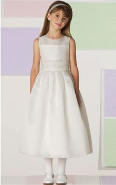 Fancy White A-line Ankle-length Jewel Dress