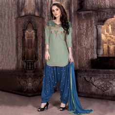 Buy Green - Blue Semi Stitched Patiala Suit for womens online India, Best Prices, Reviews - Peachmode