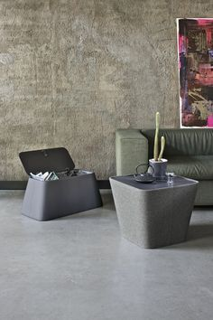 Lounge - Bontempi - Table de rangement avec couvercle en aluminium laqué et structure en bois, revêtu de cuir écologique ou de tissu