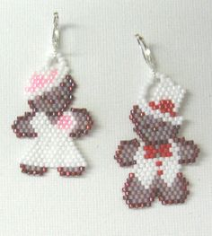 A Beary Happy Wedding Earrings   When wedding bells are ringing, this cute pair of teddy bears earrings will complete your outfit for a bridal shower or wedding. The pattern includes a list of 5 recommended Delica bead colors and a full color chart. This pattern appeared in Issue 33 (Jan/Feb 2011) of Bead-Patterns the Magazine, titled Un-Bear-ably Cute Earrings.