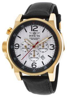 Invicta Watches Men's I-Force Chrono Black Genuine Leather White Dial 18K GP SS Case 20136SYB,    #Invicta,    #20136SYB,    #Casual