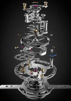 L.Leroy Automatic Tourbillon with in-house diamond escapement (escapement wheel and anchor) and in-house double hairspring. 61 components for 0,8 grams only ! http://www.montres-leroy.com/en/collections/osmior-range/tourbillon-automatic-regulator/ll1061