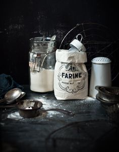 Baking Staples - Farine (Flour) in Cloth Bag w/ Old World Utensils