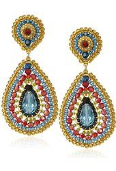 Miguel Ases Rubelite Swarovski Teardrop Multi-Colored Drop Earrings