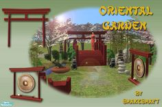 A set of objects for you to create an Oriental Style Garden for your Sims, set includes Torii Gate, Gong, Waterfall, Pagoda Lamp,Small Lion, Plants and a Decorative Bridge(see special instructions...