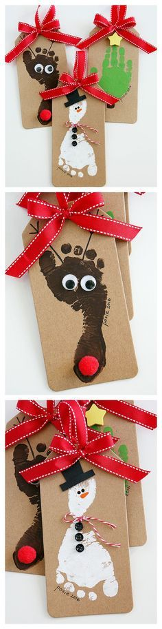 The cutest Reindeer, Snowman and Christmas Tree Ornamnets that the kids can make. | Footprint Christmas Ornaments