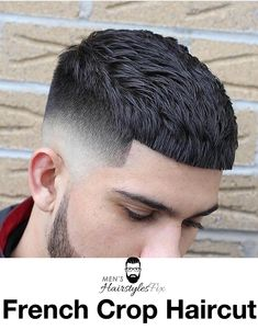 16 Best French Crop Haircut: How to Get + Styling Guide - Men's Hairstyles Crew Cut Haircut, Mid Fade Haircut, Crop Haircut, Haircut Men, Barber Haircuts, Haircuts For Men, Hair And Beard Styles, Curly Hair Styles, Hair Salon Names