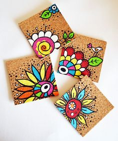 handpainted cork coasters in flowers and butterflies design.. $20.00, via Etsy.