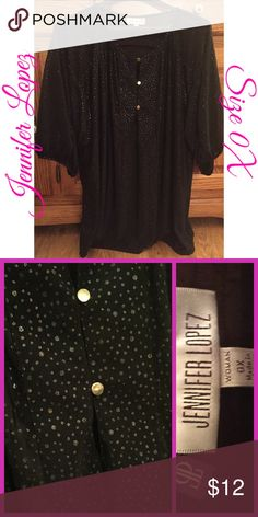 25521f2446f3 Jennifer Lopez Black w  Gold Silver Dot Blouse 0X This is brand new without  tags