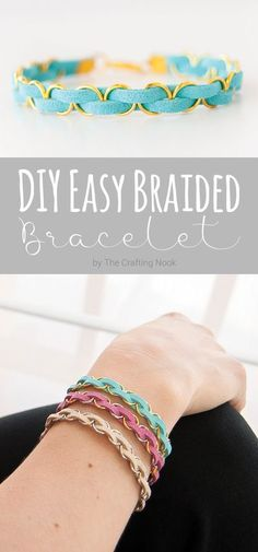 This DIY Easy Braided Bracelet is so much fun to make and the possibilities are endless, combine colors and metal parts and create lot's of fun bracelets to match your outfits! Popular Pins! Fun Craft, Love Craft, Craft Ideas, Fun Ideas, Project Ideas, Creative Ideas, Easy Diy Crafts, Diy Crafts To Sell, Sell Diy