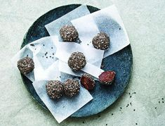 These little raw truffles are a revelation, and if you have a relatively stocked pantry, you probably already have all the ingredients. If you don't have stevia, add a little more date syrup or agave nectar, and if you don't have chia seeds, skip them or roll these babies in hemp seeds or shredded coconut instead.