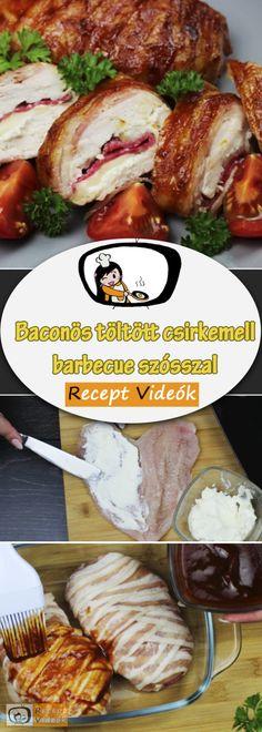 Baconös töltött csirkemell barbecue szósszal - Csirkemell receptek Mozzarella, Bacon, Pork, Beef, Kale Stir Fry, Meat, Pork Chops, Pork Belly, Steak