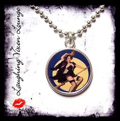 Pinup Witch  Vintage Witch Necklace SR K  by LaughingVixenLounge, $12.00