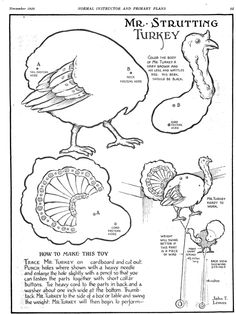Vintage 1920 turkey toy free printable to cut and attach; http://thecommonroomblog.com/2014/11/printable-turkey-cut-out-craft.html