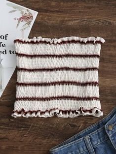 SHARE & Get it FREE | Smocked Stripes Tube Top - White SFor Fashion Lovers only:80,000+ Items • New Arrivals Daily Join Zaful: Get YOUR $50 NOW!