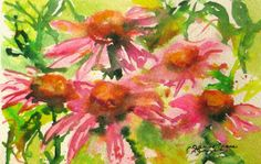 small modern Pink Coneflowers Original Watercolor landscape garden painting  flower/floral abstract fine art 4 x 6 via Etsy