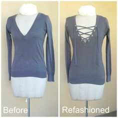 No Sew Refashion - add a lace up tie to a v-neck sweater with a grommet kit and t-shirt