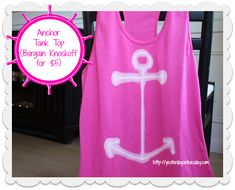 DIY Anchor Tank Top: A designer knockoff for next to nothing! #neon