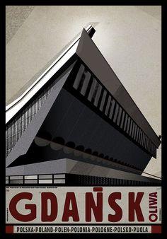 Gdansk Oliwa, Polish Poster by Ryszard Kaja Art Deco Posters, Room Posters, Gdansk Poland, Polish Posters, Art Deco Period, Baltic Sea, Typography Prints, Vintage Travel Posters, All Poster