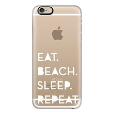 iPhone 6 Plus/6/5/5s/5c Case - EAT,SLEEP,BEACH,REPEAT white ($40) ❤ liked on Polyvore featuring accessories, tech accessories, phone, cases, iphone case, phone cases, technology, iphone cover case, iphone cases and apple iphone cases