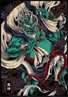 Japanese Art Samurai, Japanese Tiger, Japanese Tattoo Art, Japanese Sleeve Tattoos, Raijin Tattoo, Dragon Tattoo Art, Japan Tattoo Design, Ghibli Tattoo, Nurse Art