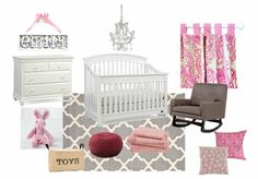 Girly Nursery Moodboard by prettysimplyhome