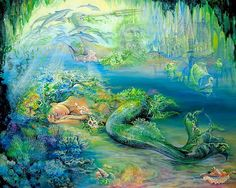 Dreams of Atlantis: Josephine Wall  As the graceful mermaid sleeps in the watery depths of her ocean grotto, she is enveloped in a sea of dreams. Description from pinterest.com. I searched for this on bing.com/images
