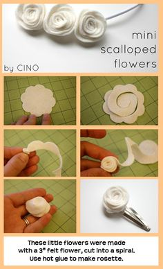 """Make a felt flower using a 3"""" flower, scissors.  Cut into spiral, roll from outside in, glueing with glue gun."""