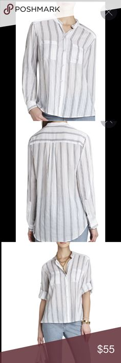 BCBGMAXAZRIA Gibson Cargo-Pocket Long-Sleeve Shirt L3-This clean-lined shirt is a polished, versatile option for elevating casual looks or perfectly complementing tailored skirts and pants. Spread collar. Adjustable long sleeves with button-up tab closure. Allover striped pattern.Cargo pockets at chest. Self: 50% Cotton, 50% Rayon jacquard. Machine Wash. NWOT BCBGMaxAzria Tops Tees - Long Sleeve