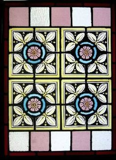 VICTORIAN PAINTED KILN FIRED STAINED GLASS WINDOW